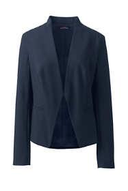 Women's Plus Size Washable Wool Collarless Blazer