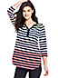 Women's Plus Lightweight Striped Notch Neck Top