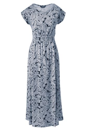 Women's Cap Sleeve Print Jersey Midi Dress