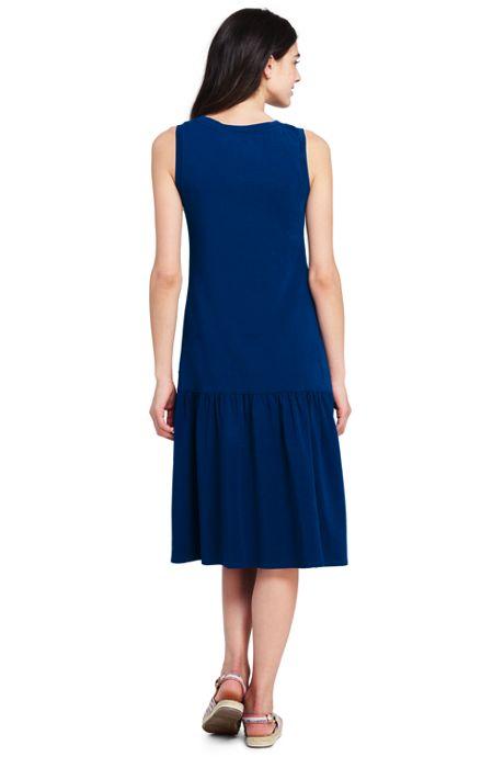 Women's Petite Sleeveless Knit Ruffle Tank Dress