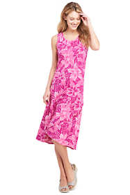 Women's Petite Sleeveless Print Knit Ruffle Tank Dress