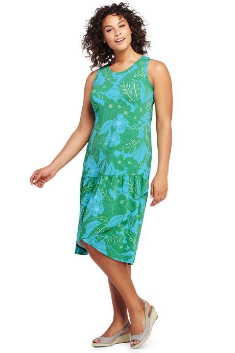 Women's Plus Size Sleeveless Print Knit Ruffle Tank Dress