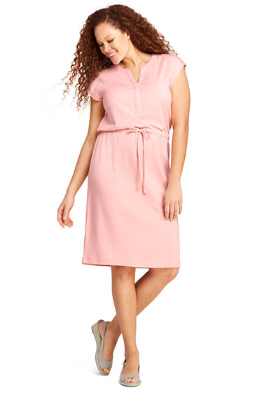 Womens Plus Size Cap Sleeve Knit Henley Dress From Lands End