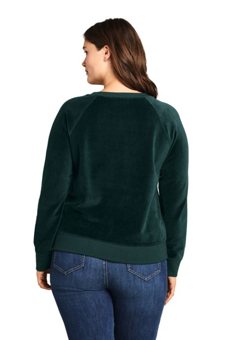 Women's Plus Size Long Sleeve Velour Sweatshirt