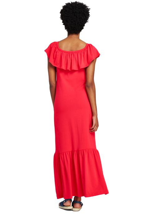 Women's Tall Sleeveless Knit Flounced Shoulder Maxi Dress