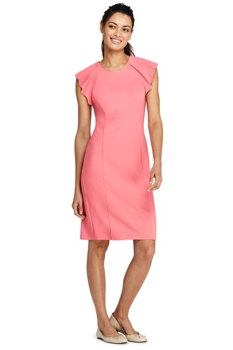 Women's Petite Sleeveless Ponte Ruffle Dress