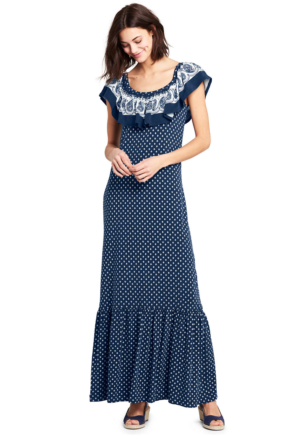 2424ee7959a Women s Sleeveless Print Knit Flounced Shoulder Maxi Dress from Lands  End