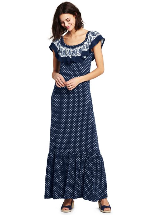 Women's Petite Sleeveless Print Knit Flounced Shoulder Maxi Dress