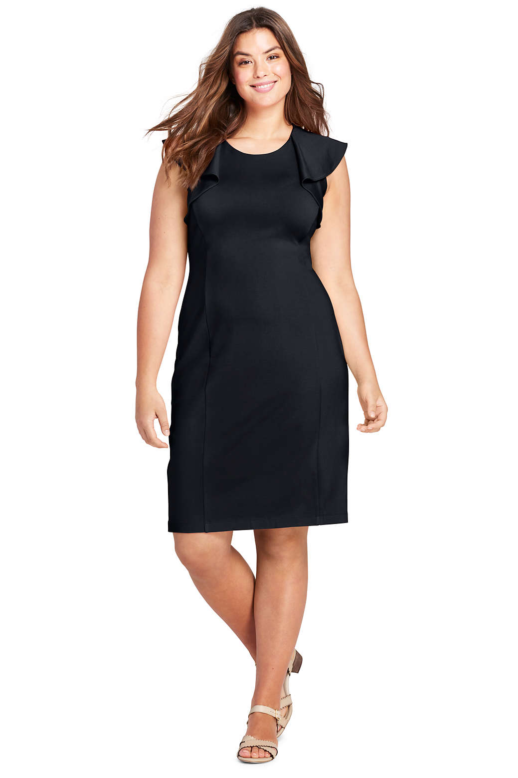 Women\'s Plus Size Sleeveless Ponte Ruffle Dress from Lands\' End