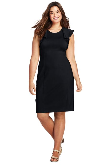 Women's Plus Size Sleeveless Ponte Ruffle Dress