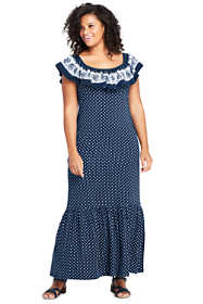 Women's Plus Size Sleeveless Print Knit Flounced Shoulder Maxi Dress