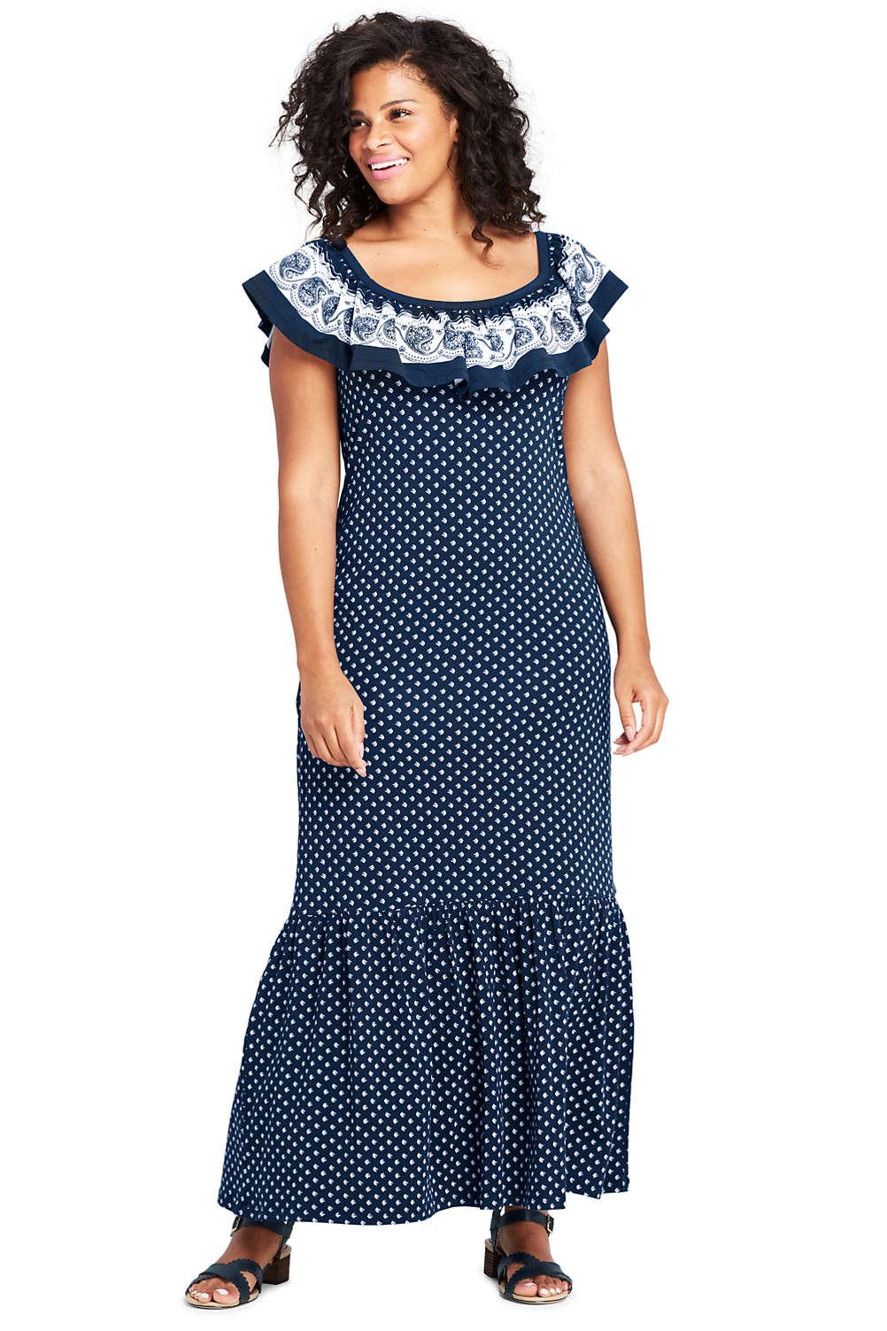 Women\'s Plus Size Sleeveless Print Knit Flounced Shoulder Maxi Dress