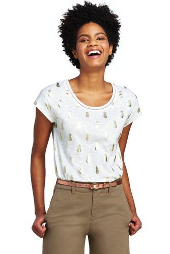 Le T-Shirt Imprimé Encolure Ajourée, Femme Stature Standard