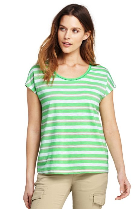 Women's Petite Dolman Sleeve Stripe Scoop Neck T-Shirt