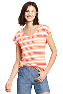 Women's T-shirt with Trimmed Scoop Neck