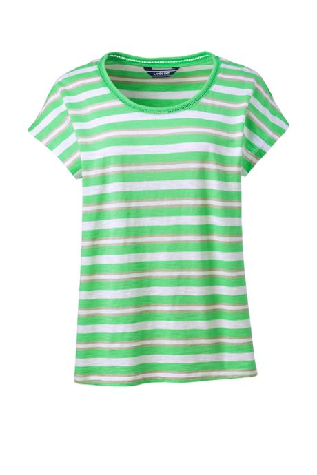 Women's Plus Size Dolman Sleeve Stripe Scoop Neck T-Shirt