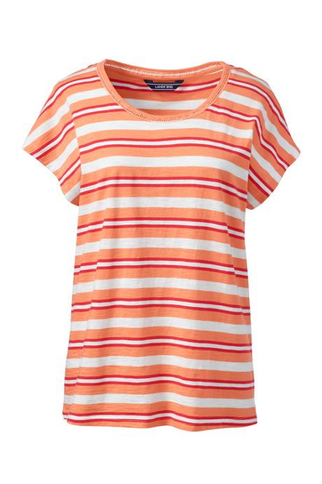 Women's Tall Dolman Sleeve Stripe Scoop Neck T-Shirt