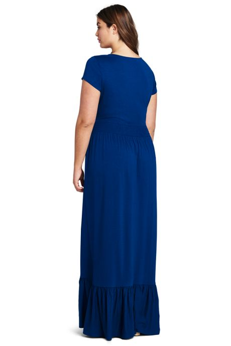 Women's Plus Size Cap Sleeve Knit Scoop Neck Maxi Dress