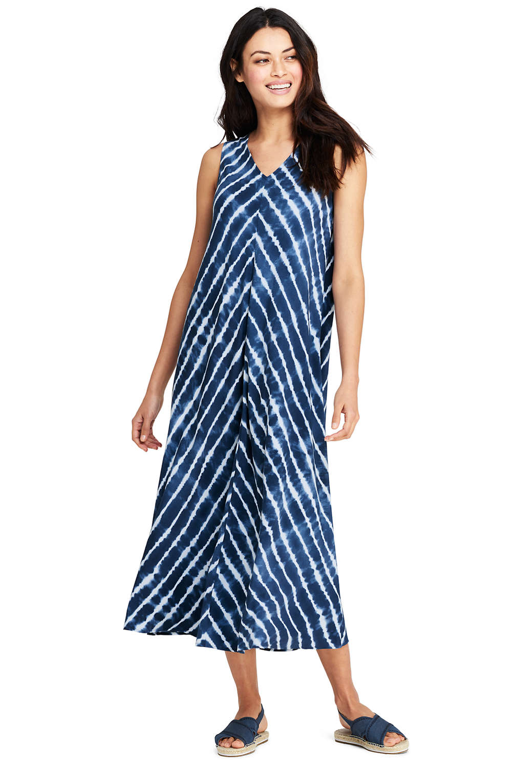 7186f59760 Women s Sleeveless Woven V-neck Midi Shibori Stripe Trapeze Dress from  Lands  End