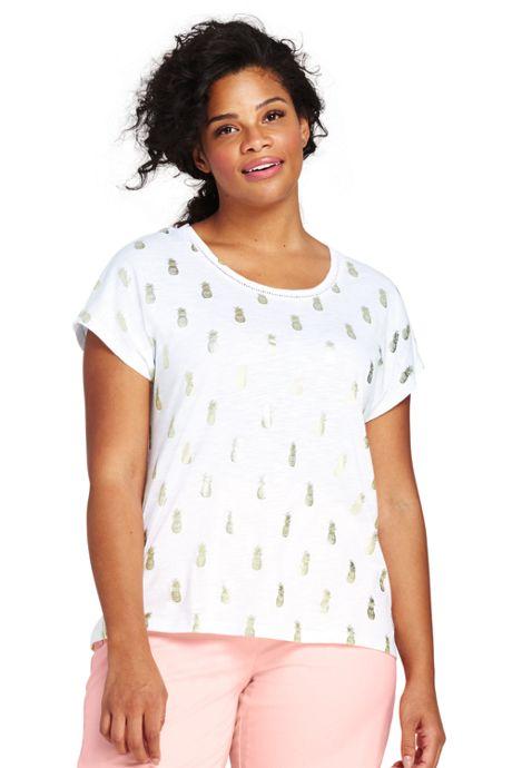 Women's Plus Size Dolman Sleeve Print Scoop Neck T-Shirt