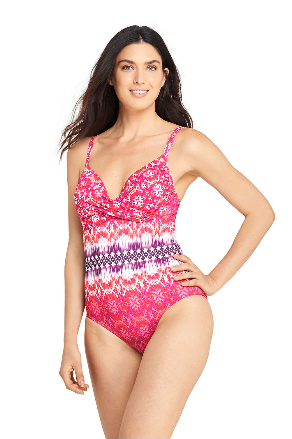 f34a2fb92abcc Women's Perfect Underwire One Piece Swimsuit with Tummy Control from Lands'  End