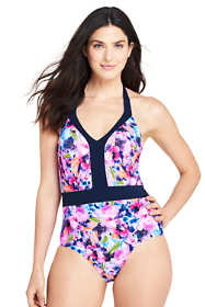 Women's Long Perfect V-neck One Piece Swimsuit with Tummy Control