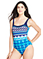Women's Square Neck Ikat Print Perfect Swimsuit