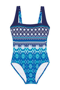 Women's Perfect Square Neck One Piece Swimsuit with Tummy Control, Front