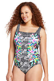 Women's Plus Size Perfect Square Neck One Piece Swimsuit with Tummy Control