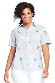 Women's Plus Size Cotton Voile Embroidered Stripe Camp Shirt