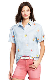 Women's Tall Cotton Voile Embroidered Stripe Camp Shirt