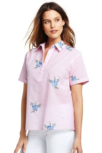 La Blouse en Voile de Coton à Rayures et Broderies, Femme Stature Standard