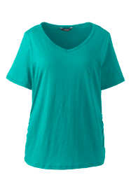 Women's Plus Size Shirred Side V-neck T-Shirt