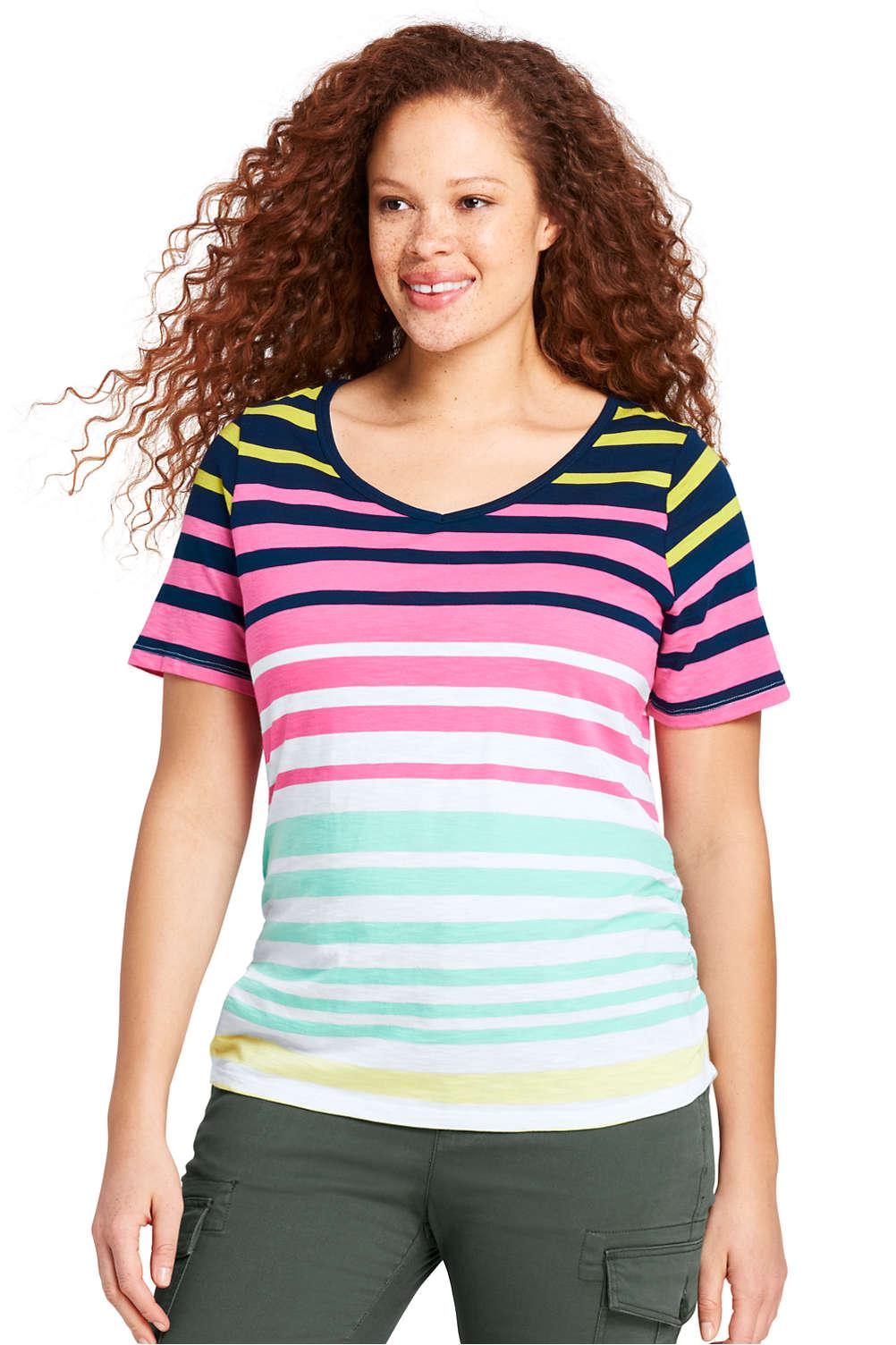 166a31cecb3 Women s Plus Size Shirred Side Stripe V-neck T-Shirt. Item  5001246Q6. View  Fullscreen