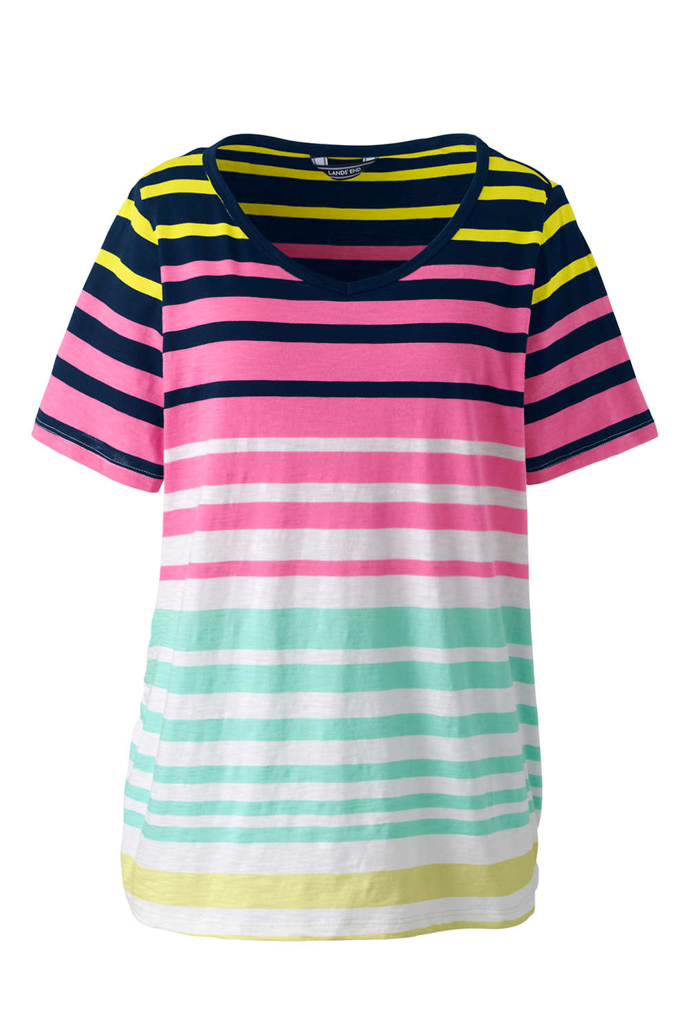 e01361205b8 Women s Plus Size Shirred Side Stripe V-neck T-Shirt from Lands  End