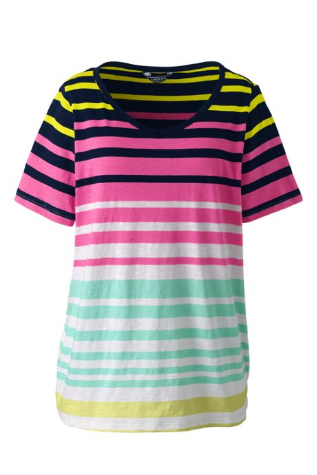 Women's Plus Size Shirred Side Stripe V-neck T-Shirt