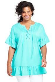 Women's Plus Size Elbow Sleeve Flutter Tunic Top