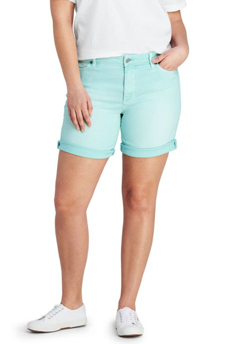 Women's Plus Size Mid Rise Roll Cuff Jean Shorts