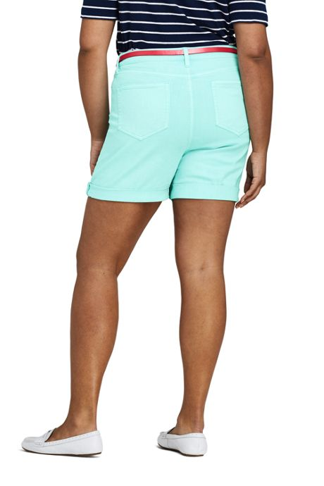 Women's Plus Size Mid Rise Roll Cuff Jean Shorts