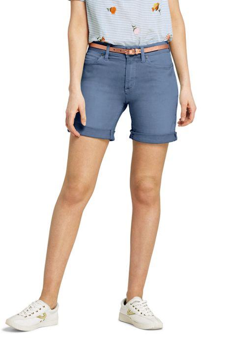 Women's Petite Mid Rise Roll Cuff Jean Shorts