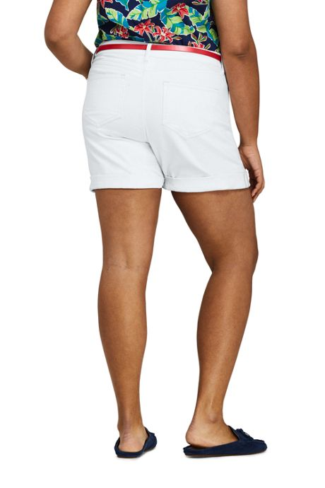 Women's Plus Size White Mid Rise Roll Cuff Jean Shorts