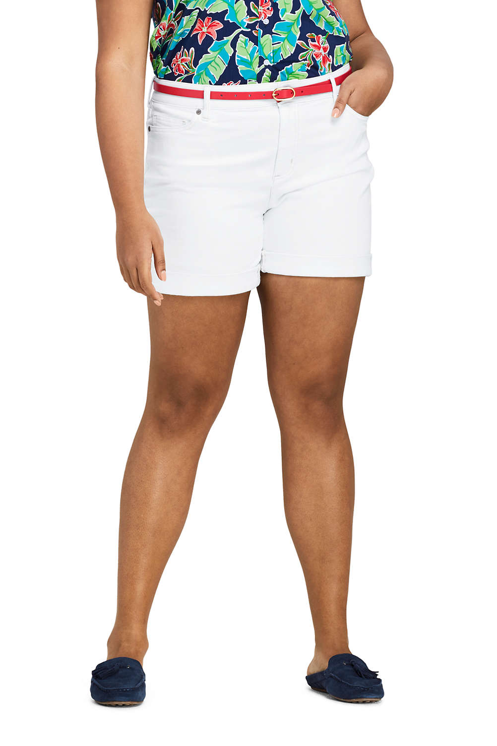 59ebf3c4d6 Women's Plus Size White Mid Rise Roll Cuff Jean Shorts from Lands' End
