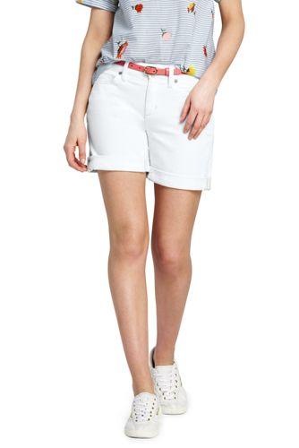 Women's Roll Hem White Denim Shorts