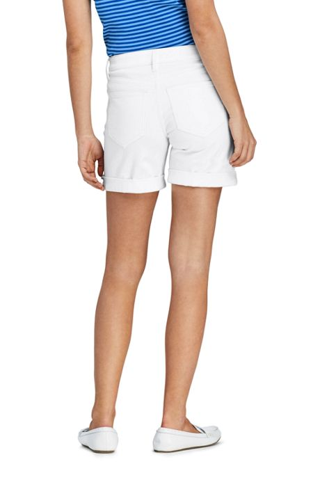 Women's Petite White Mid Rise Roll Cuff Jean Shorts