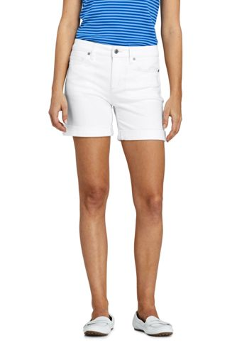Le Short en Jean Blanc Ourlets à Revers, Femme Stature Standard