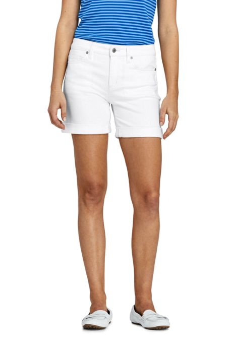 Women's White Mid Rise Roll Cuff Jean Shorts