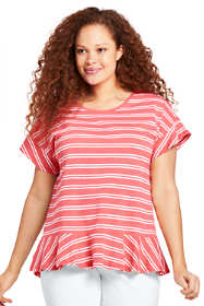 Women's Plus Size Flounced Stripe Scoop Neck Top
