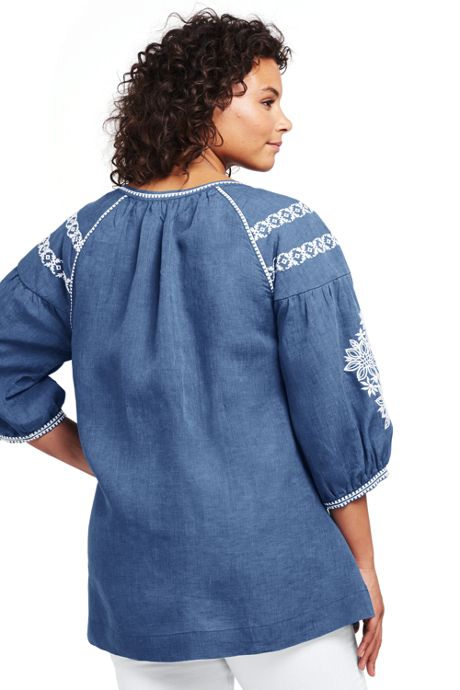 Women's Plus Size Embroidered Linen Tunic
