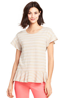 Le T-Shirt Léger Rayé à Volants, Femme