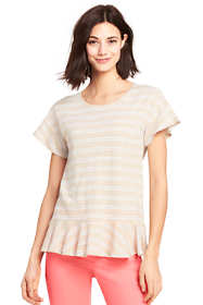 Women's Flounced Stripe Scoop Neck Top